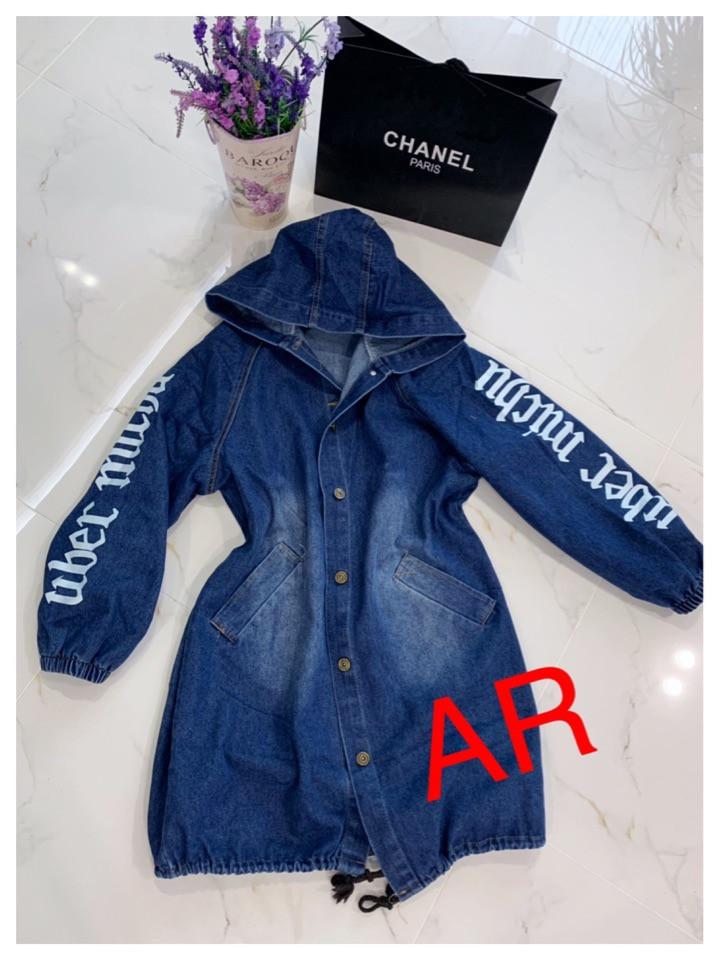 Куртка джинсова подовжена синього кольору з накаткою на спині і рукавах 42-46 р