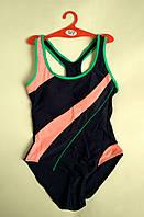 Купальник женский сплошной спортивный чёрный с розовым