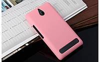 Чехол накладка бампер для Sony Xperia E1 D2005 / D2105 Dual розовый