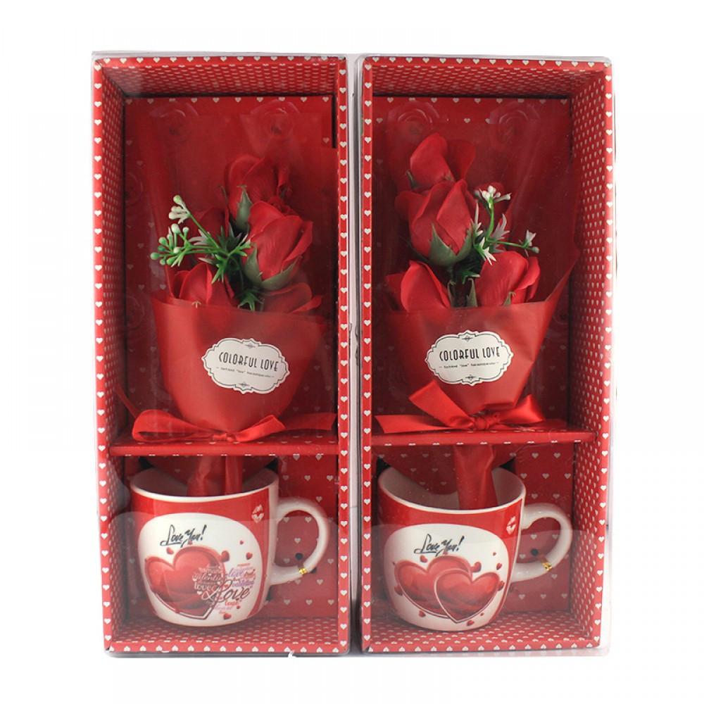 Подарочный набор букет роз в чашке Masslinna Love (BHXLG-585)