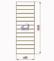 Экспопанель, экономпанель, белая H=2000мм, W=690мм, шаг 100мм, 19 пазов, без вставок