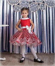 Детское нарядное платье Майя красное в белый горох (30-34)