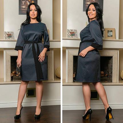 """Элегантное женское платье с поясом ткань """"жаккард"""" 62 размер батал, фото 2"""