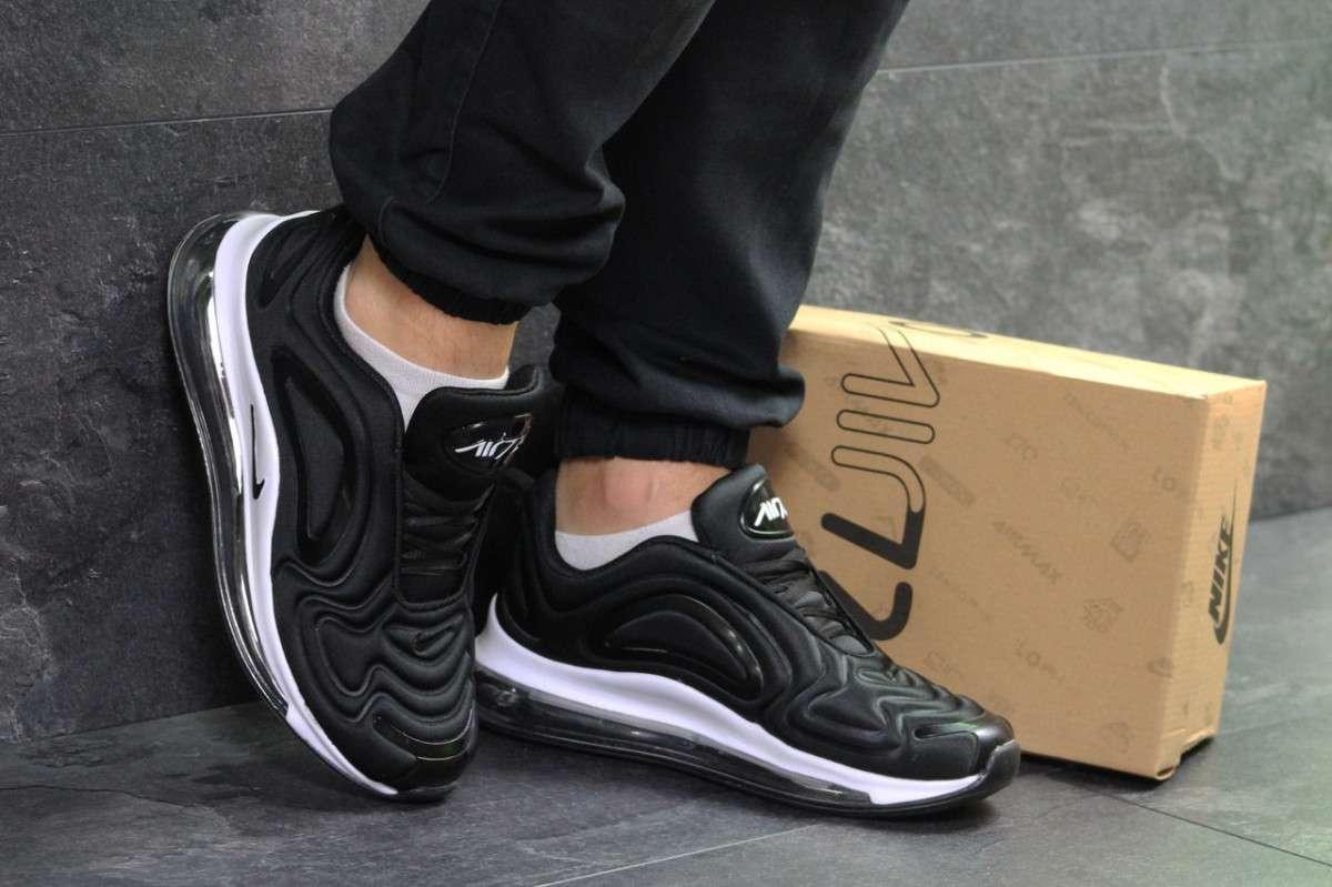 2116eaf0 Мужские кроссовки весенние черные с белым Nike Air Max 720 7059 (реплика)