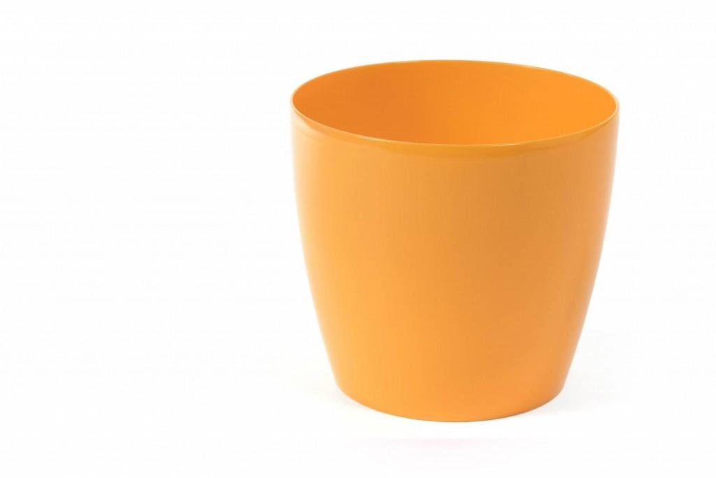 """Горщик пластмасовий для квітів, """"Магнолія"""", 120мм, (Жовтий), з підставкою"""