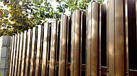 Металлоштакетник для забора односторонний под дерево золотой дуб, темный дуб, ясень
