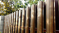 Металлоштакетник для забору двосторонній під дерево золотий дуб, темний дерево, 3D ясен, дуб 3D