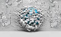 Фотообои 3D фигуры 368х254 см  : Синий шар через стену (3006.20133)