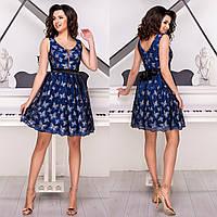 """Синее вечернее нарядное платье пышное """"Батерфляй"""", фото 1"""