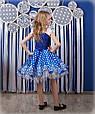 Яркое нарядное платье Майя синее в белый горох (30-34), фото 5