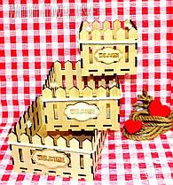 Декоративная Деревянная Корзинка Средняя для оформления цветов букетов дерев'яна корзина для квітів С ЛОГО