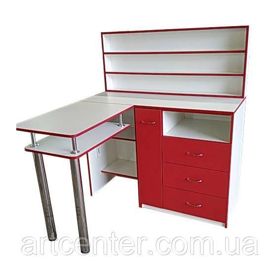 Угловой стол для маникюра с ящиком карго, выдвижными ящикам и полкой для лаков