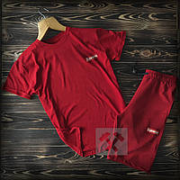 Летний мужской спортивный костюм Supreme красного цвета (Шорты и футболка Суприм яркий)