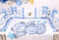 Комплект в кроватку Мишка Тедди в голубом цвете, фото 4
