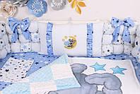 Комплект в кроватку Мишка Тедди в голубом цвете, фото 3