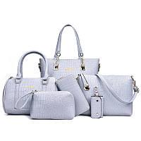 Набор женских сумок 6в1 из экокожи голубого цвета, фото 1