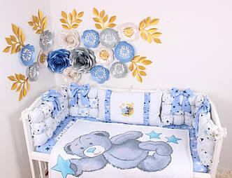 Комплект в кроватку Мишка Тедди в голубом цвете