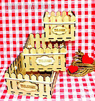 Декоративная Деревянная Корзинка 3 ШТ для оформления цветов букетов дерев'яна корзина для квітів С ЛОГО, фото 1