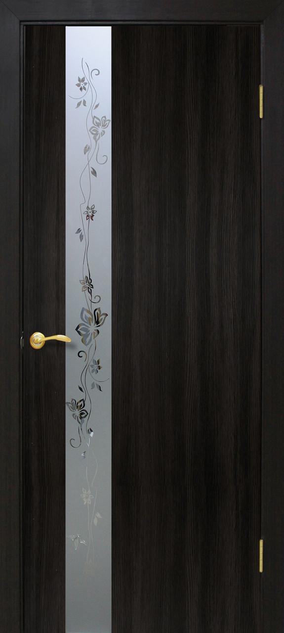 """Двері ПВХ Оміс 2000х600х34 """"Зеркало2 150мм"""" венге"""