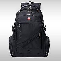 Вместительный рюкзак в стиле SwissGear Wenger, свисгир. Черный. + Дождевик. 35L / s8810-3 black