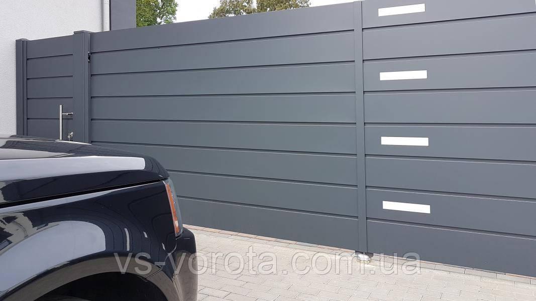 Ворота из сэндвич панели уличные откатные, размер 4000х2100