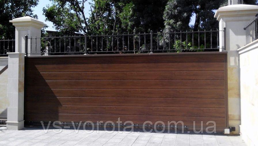 Ворота уличные сендвич панель Днепр - раздвижные въездные системы, размер 4000х2200