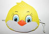 Карнавальная маска цыпленок  на голову на резиночке