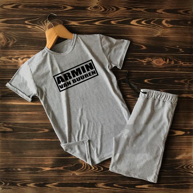 Летний спортивный костюм Armin Van Buuren серого цвета