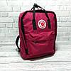Молодежный рюкзак, сумка Fjallraven Kanken Classic, канкен класик. Бордовый с черным / 7104, фото 6