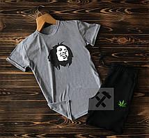 Летний спортивный костюм Bob Marley серого цвета (Боб Марли) шорты и футболка