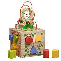 Логический кубик Игрушки из дерева (Д014)