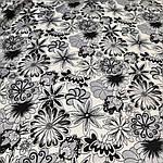 Атлас вискозный стрейч, черно-белые цветы, фото 3