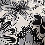 Атлас вискозный стрейч, черно-белые цветы, фото 2