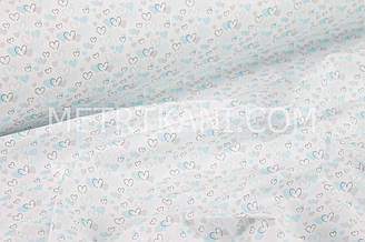 """Ткань хлопковая """"Нарисованные сердечки"""" лазурно-серые на белом №1468"""