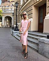 Женское летнее платье из вискозы розового цвета