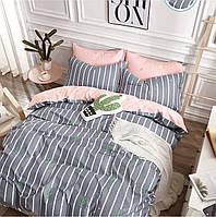 Комплект постельного белья Bella Villa сатин Евро серо-розовый