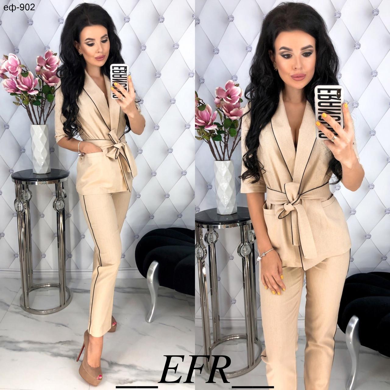 7804e6913b57 Стильный женский льняной брючный костюм Разные цвета - Интернет-магазин  MonoStar в Одессе