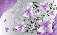 Фотообои готовые 254х184 см  : Фиолетовые цветы и черные ветки (1238.21142)