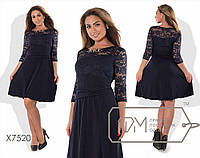 """Шикарное женское платье комбинированная ткань """"Гипюр + трикотаж масло"""" 48, 50, 52, 54 размер батал"""