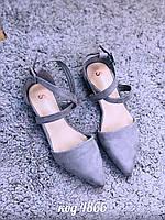 Женские замшевые открытые туфли лодочки балетки с ремешком на низком каблуке, фото 1