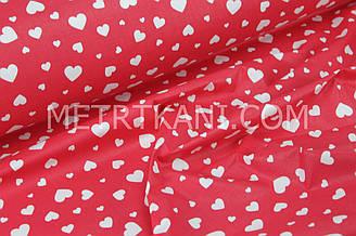 """Ткань хлопковая """"Сердечка разных размеров"""" на красном фоне № 1470"""