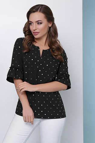 Свободная блузка в блестящий горошек и воланами на рукавах черная, фото 2