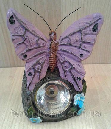 Газонні світильник метелик на сонячній батарейці, колір - фіолетовий.