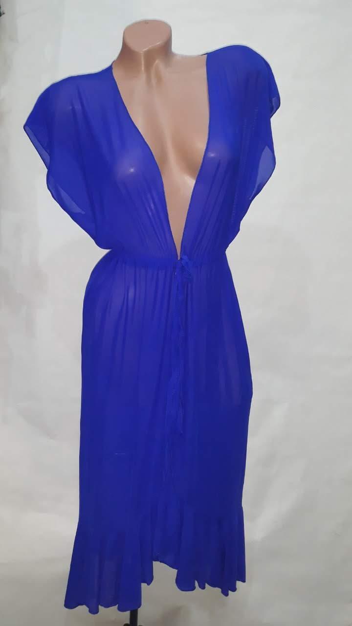 Длинный пляжный халат Синтия 5020 ярко-синий на размеры 44-54.