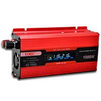 Преобразователь UKC авто инвертор 12V-220V 1000W LCD KC-1000D + USB Red