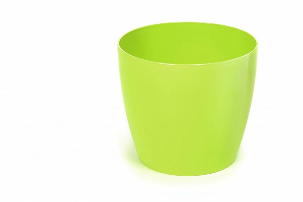 """Горщик для квітів, вазон пластиковий, """"Магнолія, 180мм, (Лимонний), з  підставкою"""