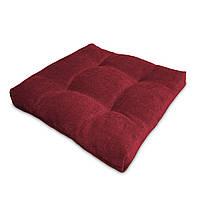 Подушка на стул Кедр на Ливане квадратная стеганная серия Color mini comfort 35x35x5 см Бордовый (1147)