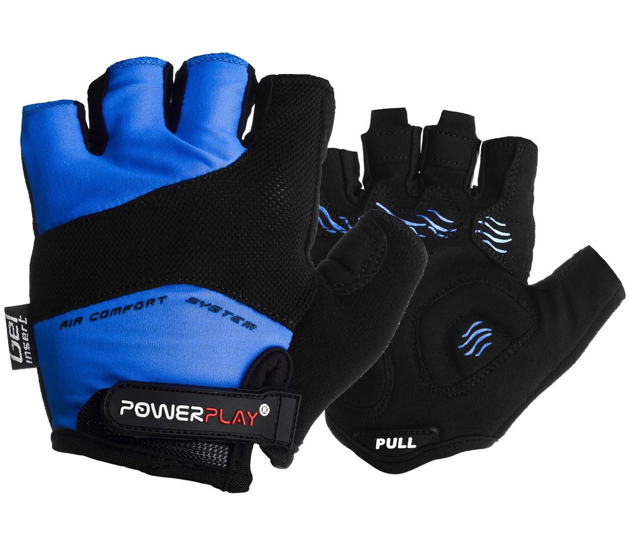 Велорукавички PowerPlay 5013 C Сині M - 144714