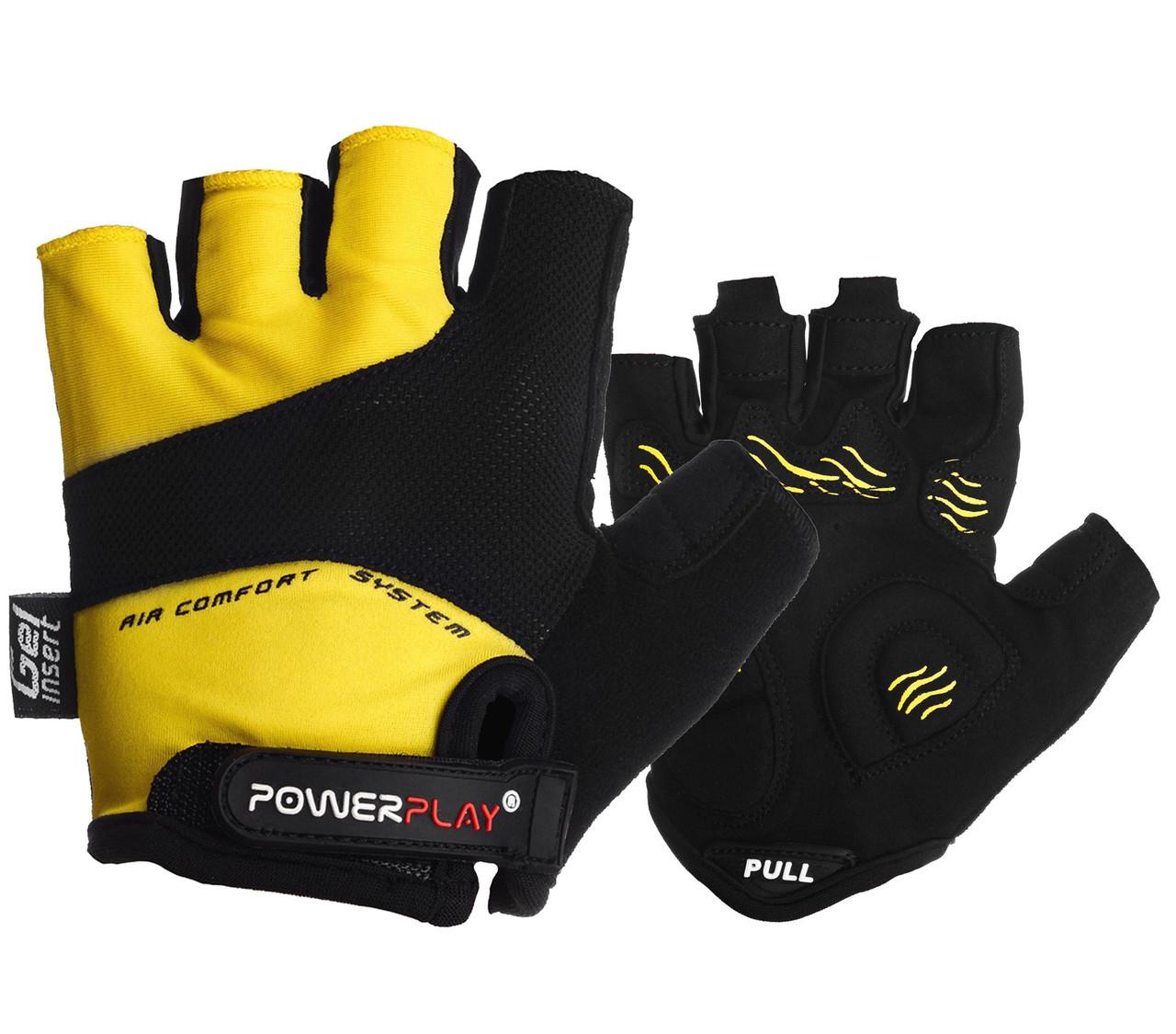 Велорукавички PowerPlay 5013 Жовті S - 144359