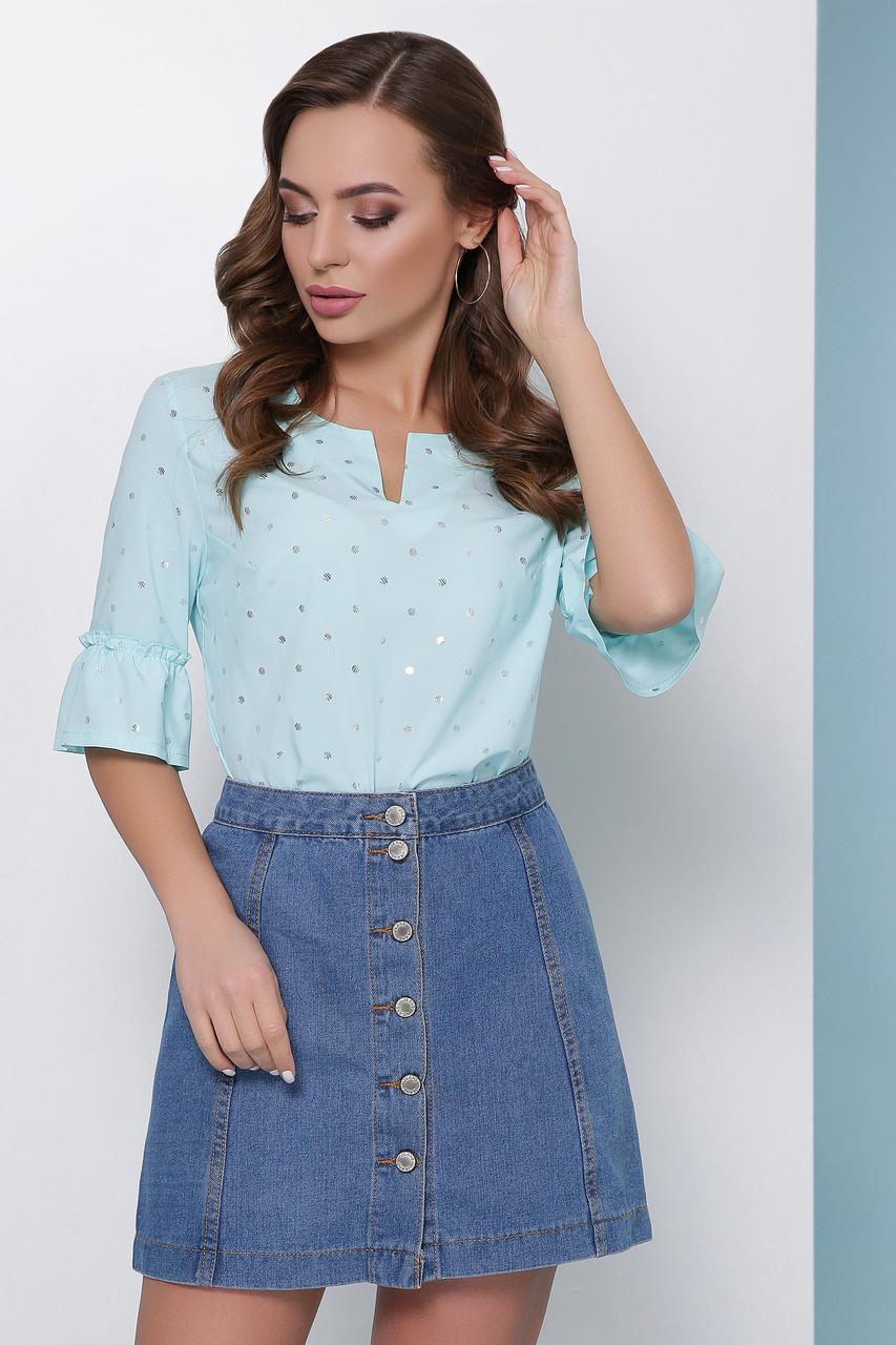 Свободная блузка в блестящий горошек и воланами на рукавах мятная